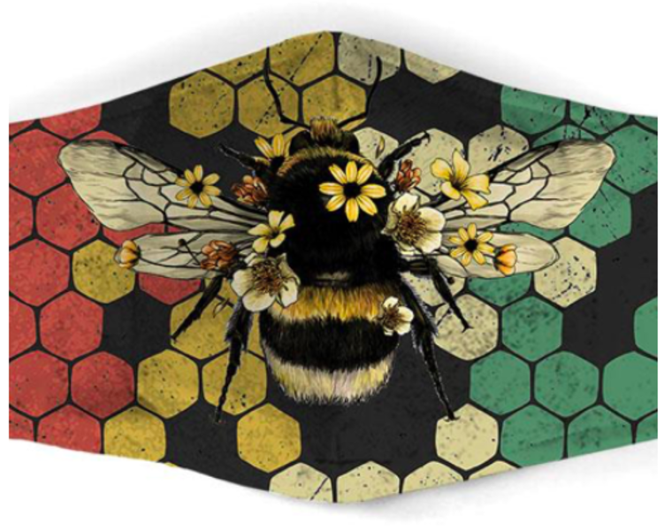 Bee Mask - Red/Gold/Green