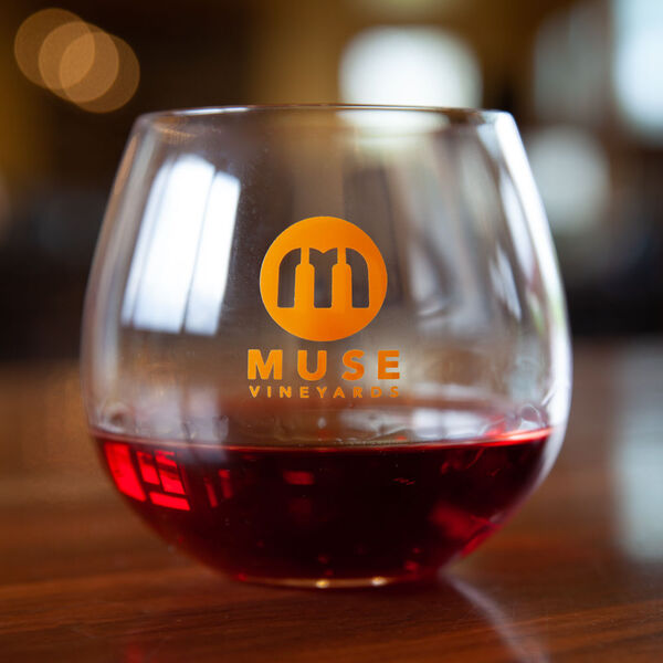 Muse Logo Stemless Wine Glass