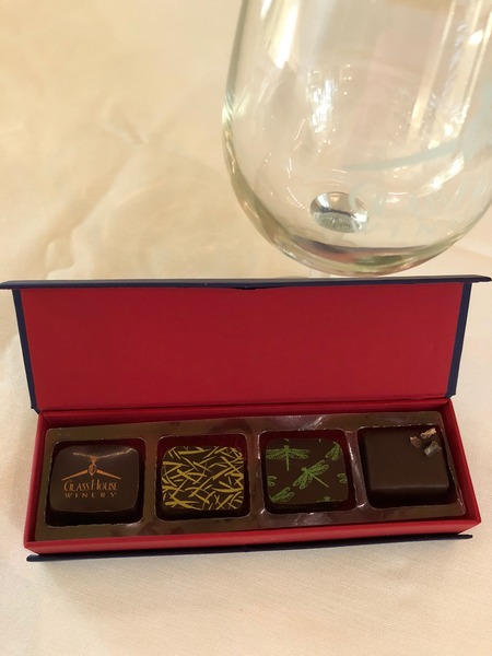 4 Piece Chocolate-pairs with Red Wine