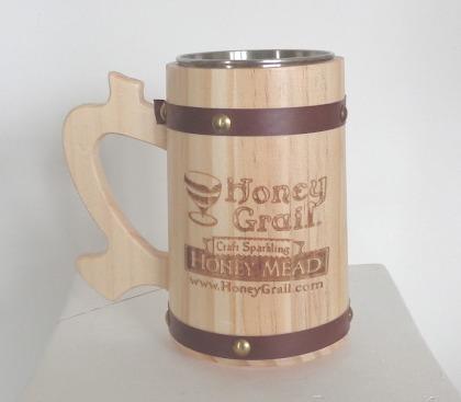 Product Image for Wooden Battle Tankard - 12 oz Wooden Mug - Rustic Barrel Design - Stainless Steel Liner Cup