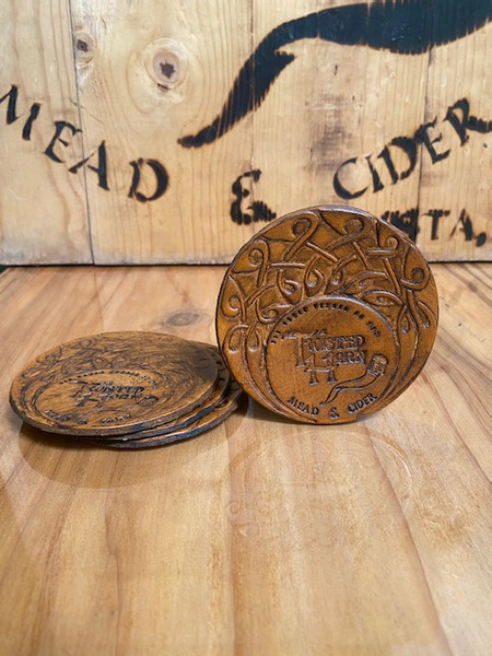 Twisted Horn Handmade Leather Coasters. Set of 4.