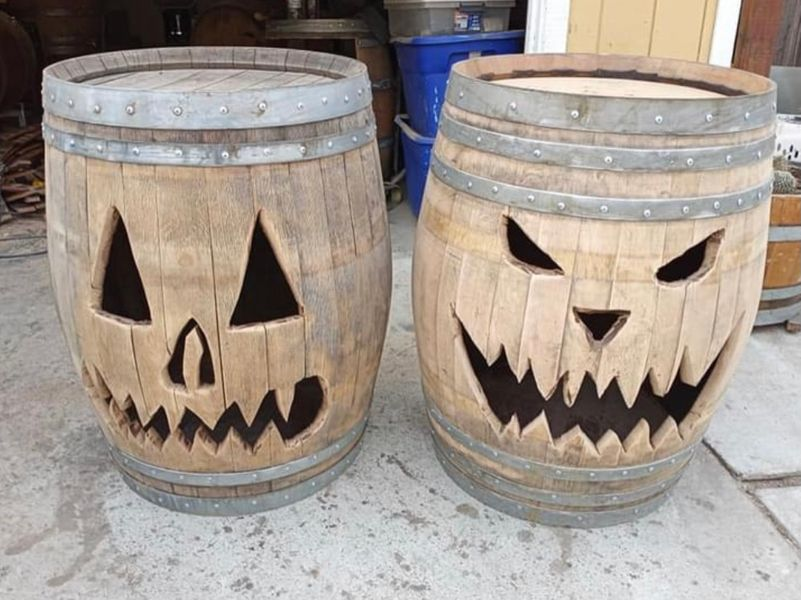 Wine Barrel Jack-O-Lanterns