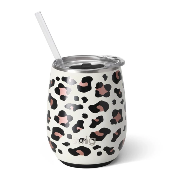 Product Image for Swig Luxy Leopard 14oz Stemless Wine Cup