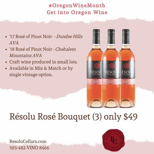 Résolu Rosé Bouquet - '18 Rosé Chehalem Mountains AVA 3 Pak $49