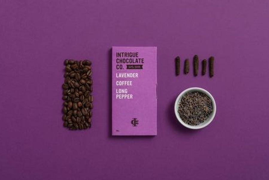 Lavender, Coffee, Long Pepper 64% Dark Chocolate Bar