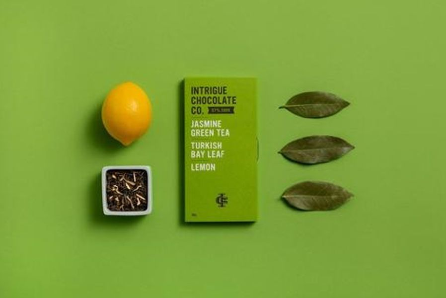 Jasmine Green Tea, Turkish Bay Leaf, Lemon 67% Dark Chocolate Bar