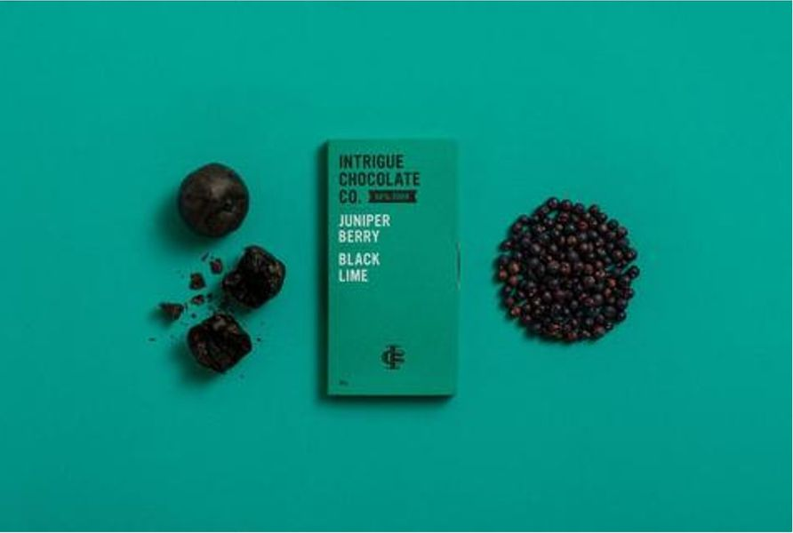 Juniper Berry, Black Lime 68% Dark Chocolate Bar