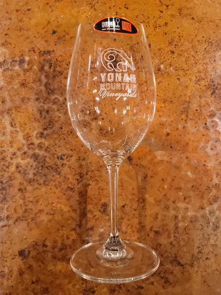 YMV Logo Etched Riedel Wine Glass