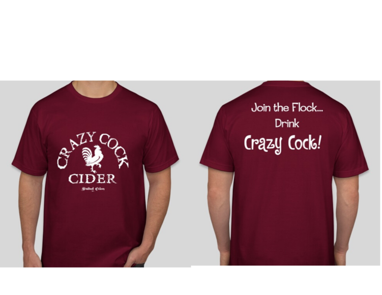 Crazy Cock Cider T-shirt Red  available in Small, Large, Extra Large & XXXLarge
