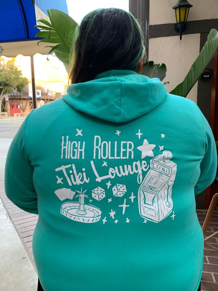 Teal High Roller Tiki Zip Up Hoodie