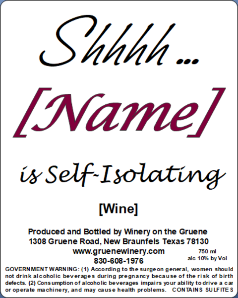 Self Isolating - MUST BE PURCHASED WITH WINE