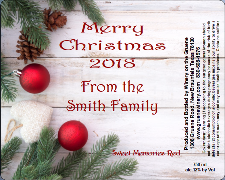 Christmas Label-Rustic Ornaments - MUST BE PURCHASED WITH WINE