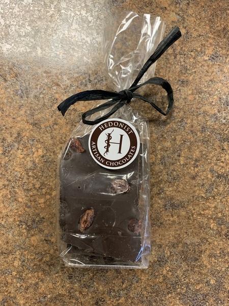Hedonist Chocolate Bark: Dark Chocolate w/ Espresso, Smoked Sea Salt  & Cran Bark
