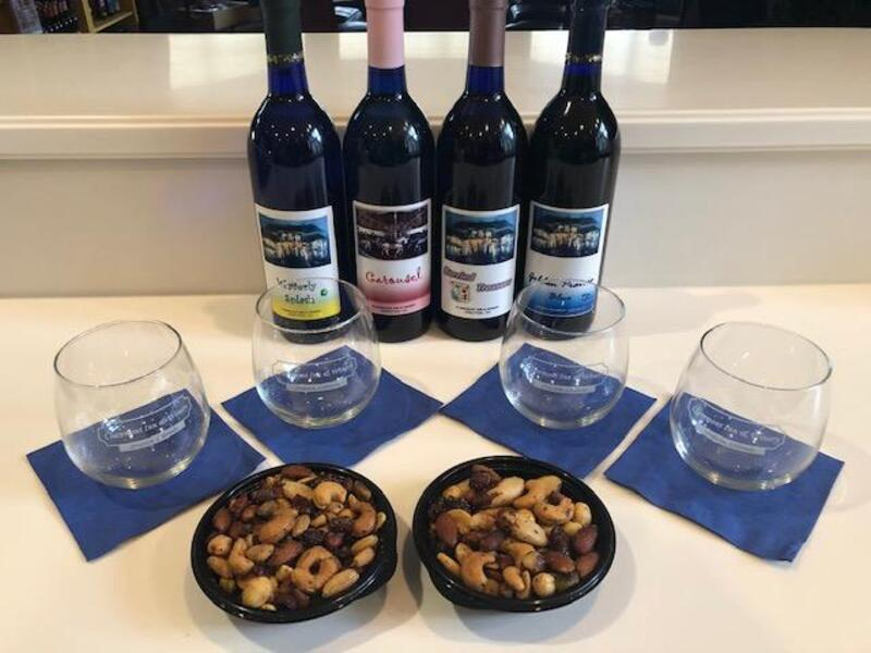 4 Best-Seller Fruit Infused Wines - 4 Stemless Wine Glasses and Wine Nuts - FREE Shipping